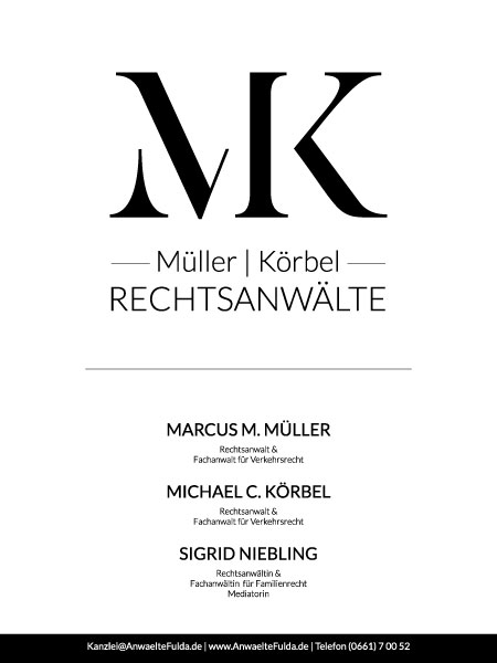 Firmenschild von Müller | Körbel Rechtsanwälte